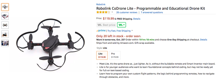 Learn to Code, Play with Drone: CoDrone by Robolink » A Lite