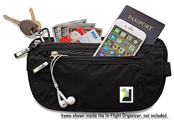 In-Flight Organizer - Keep your Passport, Landing Card, Pen, Headphones, Eye Mask and Ear Plugs etc all in one convenient place.  Avoids getting up and down to the overhead locker.