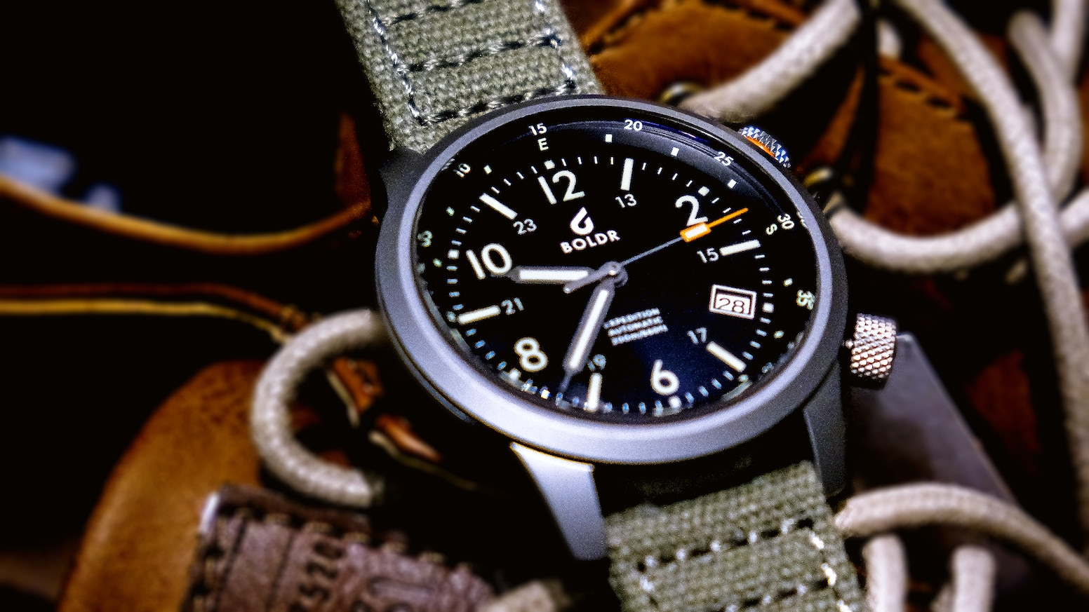 The BOLDR Expedition Swiss Automatic field watch, a tough companion to navigate your life's adventures and explorations.