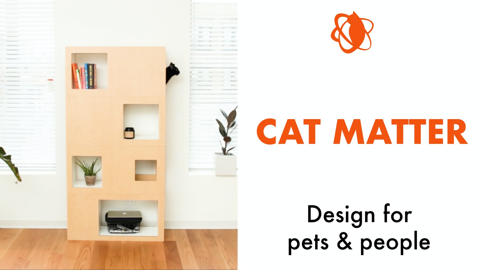 Cat tree and bookcase, the Cat Case is a modular, reconfigurable and easy to assemble piece of furniture perfect for people and pets.