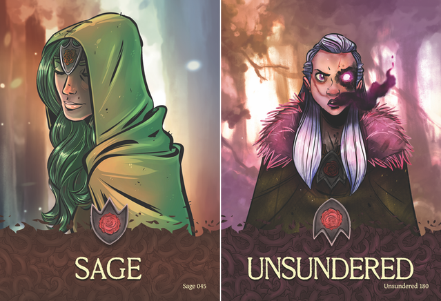 Sage and Unsundered momentum cards. Illustrations by Mike Krahulik, layout by Liz Spain.