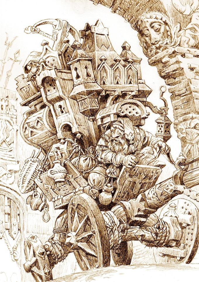 Dvärgkärra full med gods