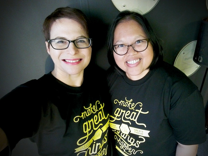 """Eleonora (left) and Lana (right) wearing the """"Make Great Things Happen"""" t-shirt"""