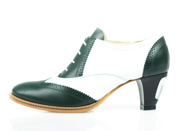 Green and white leather