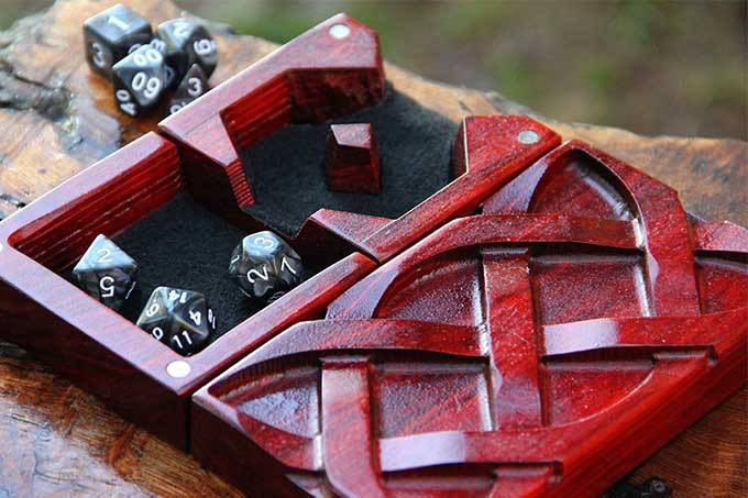 Redheart Dice Tower with Celtic Sculpted Design and Black Felt.