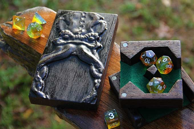 Wenge Dice Tower with Cthulhu Sculpted Design and Green Felt.