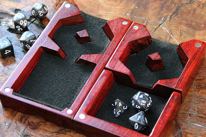 Redheart Dice Tower with Black Felt.