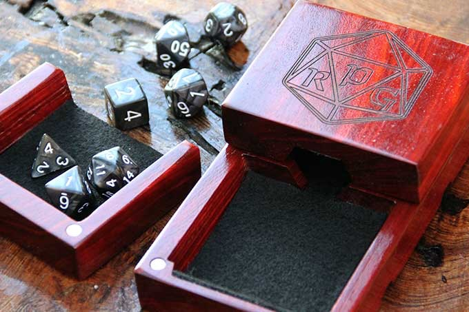 Redheart Dice Tower with Custom Engraving and Black Felt.