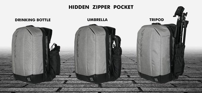 HIDDEN ZIPPER POCKET FOR DRINKING BOTTLE / UMBRELLA / TRIPOD