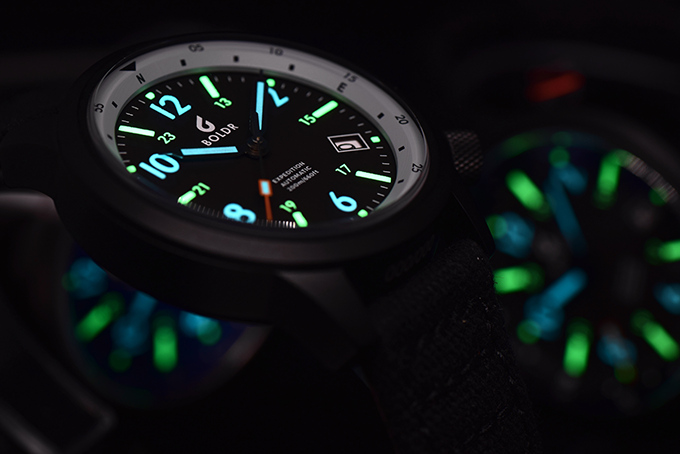 Expedition has you covered with swiss superluminova hour markers in two-tone lume colours for quick legibility in low light.