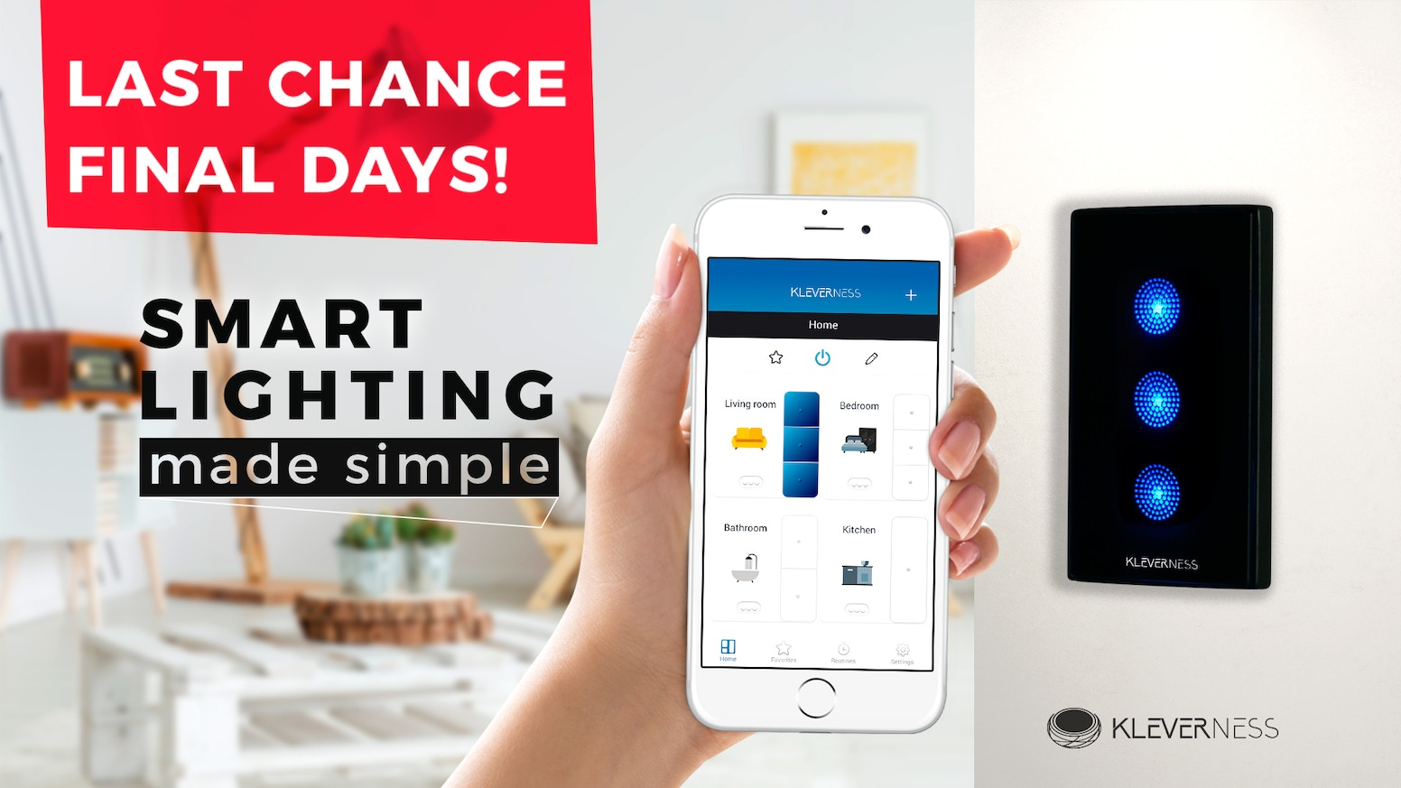 Kleverness lets you fully automate your home's lighting and control everything remotely with no modifications or special bulbs