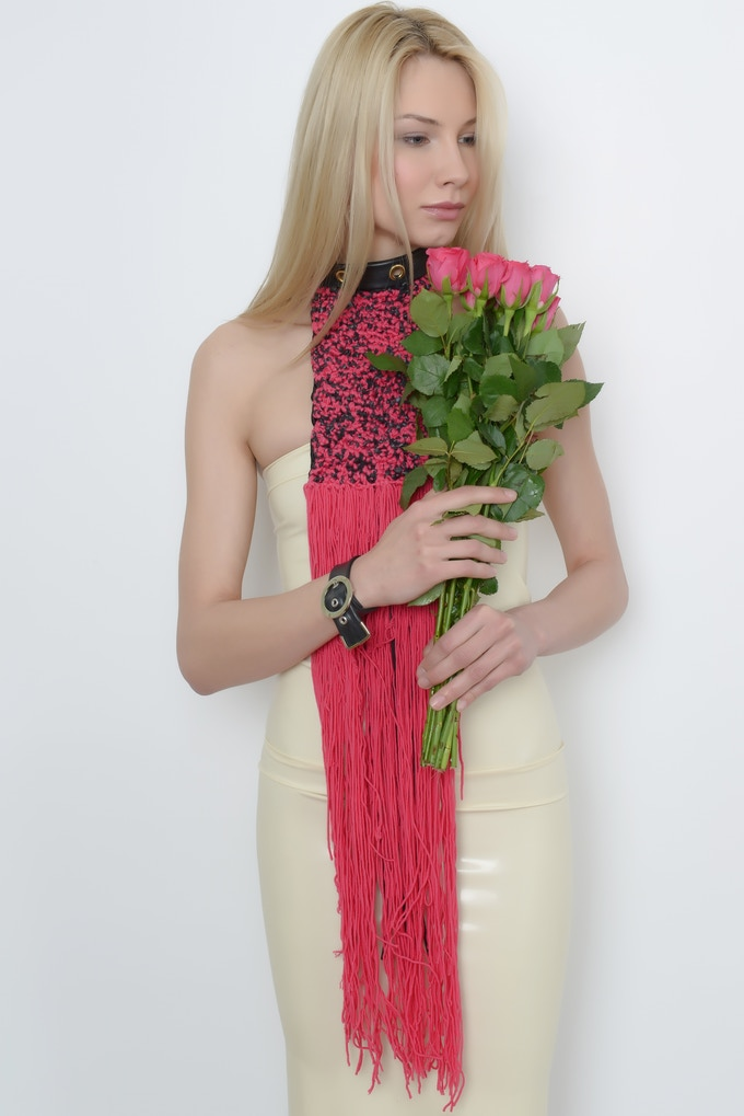 TildArt Luxury Scarf In Pink Made From Recycled Bicycle Inner Tube With 100% Natural Wool & Satin Lining
