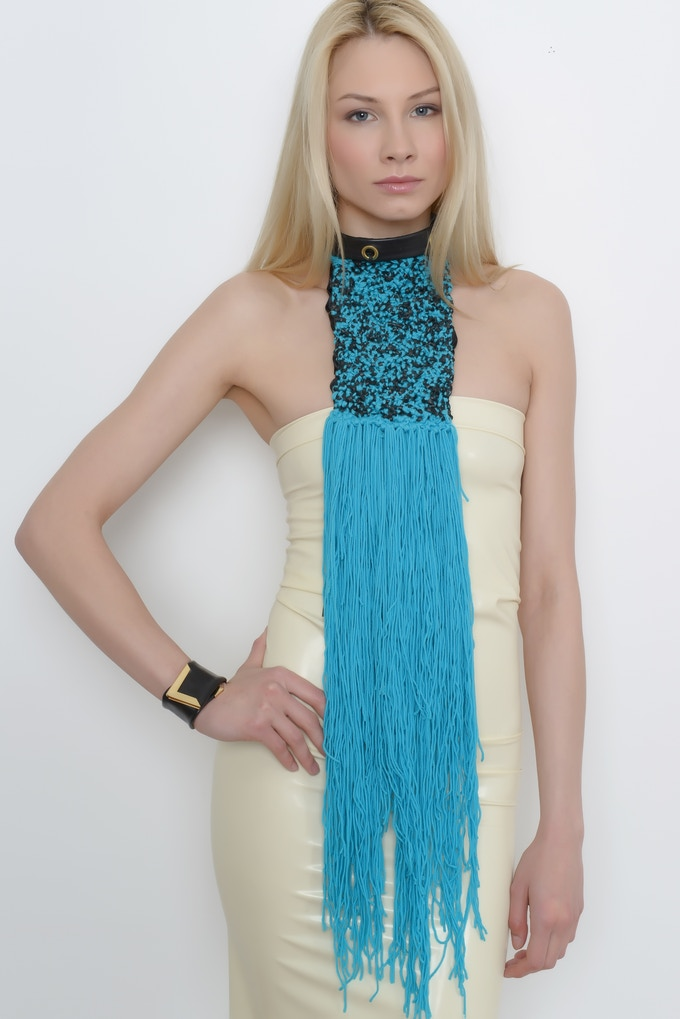 TildArt Luxury Scarf In Blue Made From Recycled Bicycle Inner Tube With 100% Natural Wool & Satin Lining