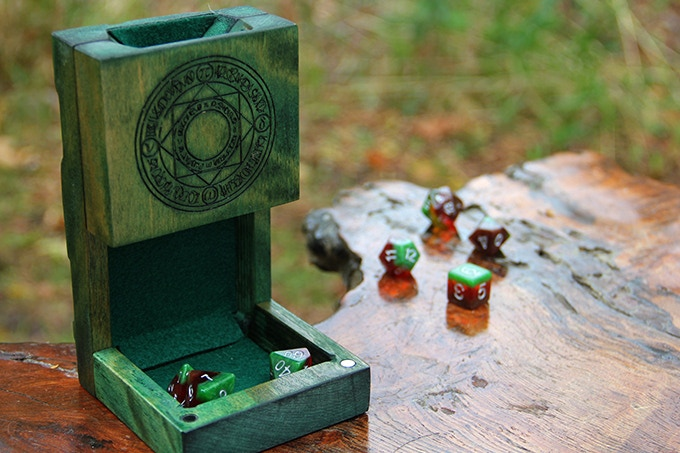 Kickstarter Green Dice Tower with Arcane Engraving and Green Felt.