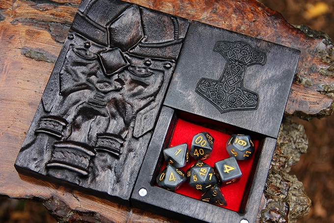 Abyssal Black Dice Tower with Beard Sculpted Design, Mjolnir Engraving, and Red Felt.