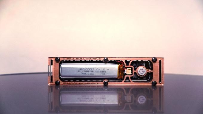 Assembled PIXEL Flashlight - Back of Case