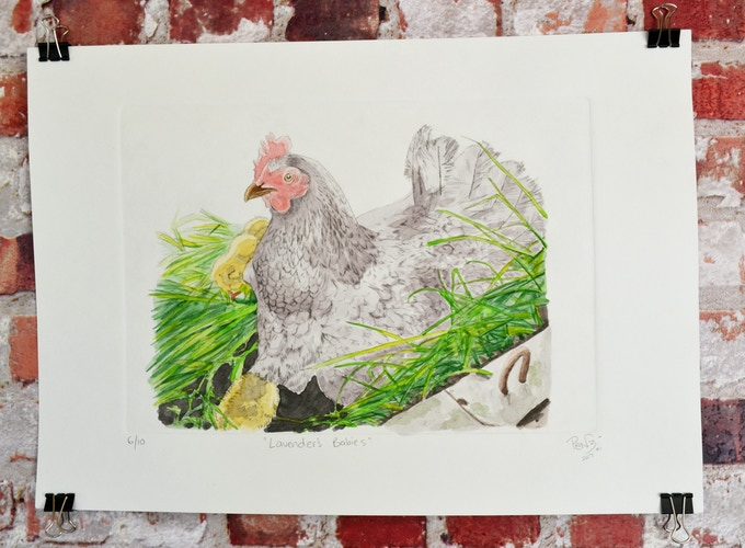 Larger view of A3 intaglio + watercolour print