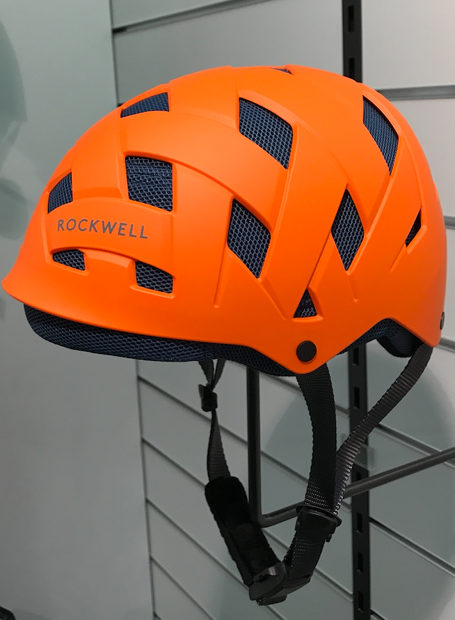 orange ABS shell, blue MESH fabric/EPS inlay