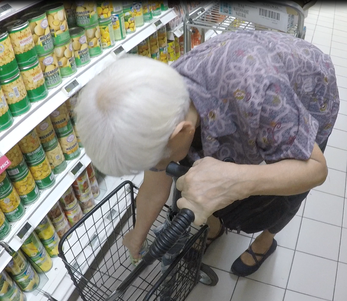 A common scene in the supermarket - where senior citizens bend down and strain their backs when picking up items from the trolley