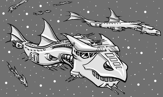 """A Barry Munden illustration for """"The Dragon Ships of Tycho"""""""