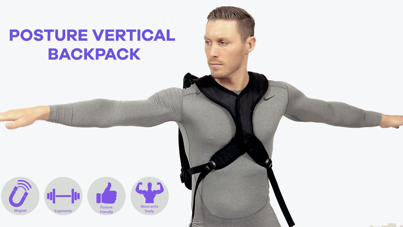 A backpack with magnet closure in the front that improves posture. Weight is carried on your sternum with no pressure on shoulders.
