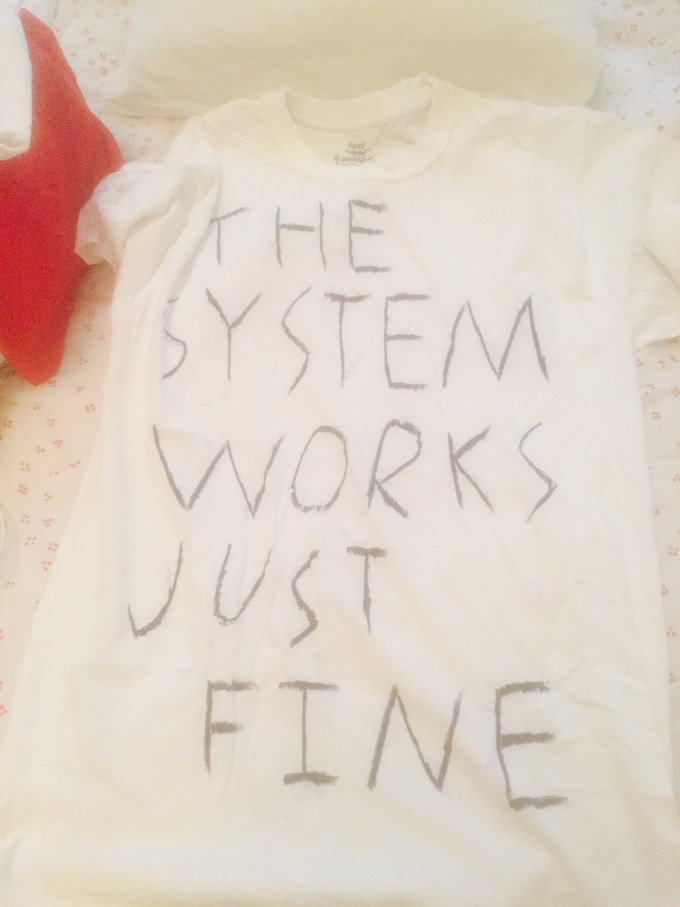 """Pledge for this original """"The System Works Just Fine"""" shirt, as worn by Dick Valentine.  He actually wore this! Multiple times!"""