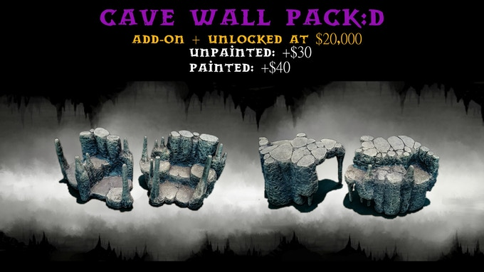 Cave Walls Pack:D contains two size 3 wall risers.