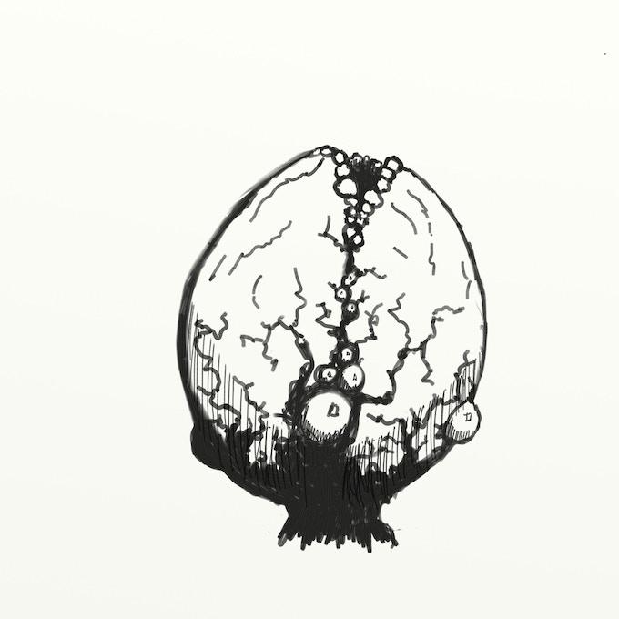 Pewter Sprue w/ 5 monster eggs, concept art