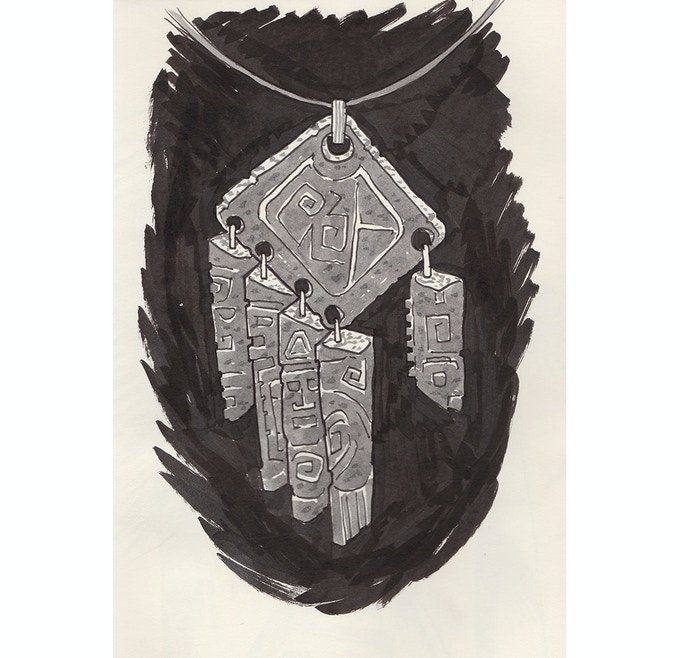 Concept sketch of the Black Hand medallion by Paul Harding