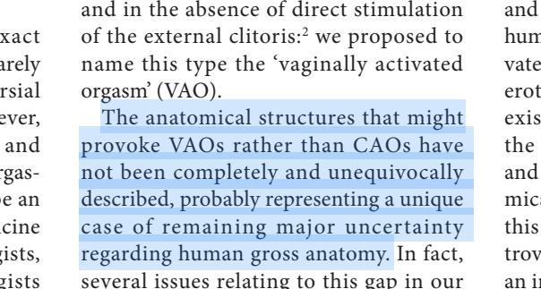 La vagina representa un caso único de falta de conocimiento sobre la anatomía humana.(1)
