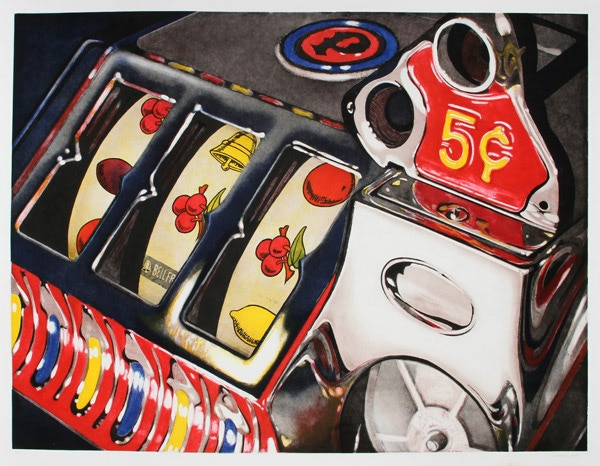 """""""5 Cent Slot"""" Huge 54"""" x 45"""" aquatint by Charles Bell."""