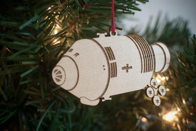 The Apollo CSM ornament, in maple.