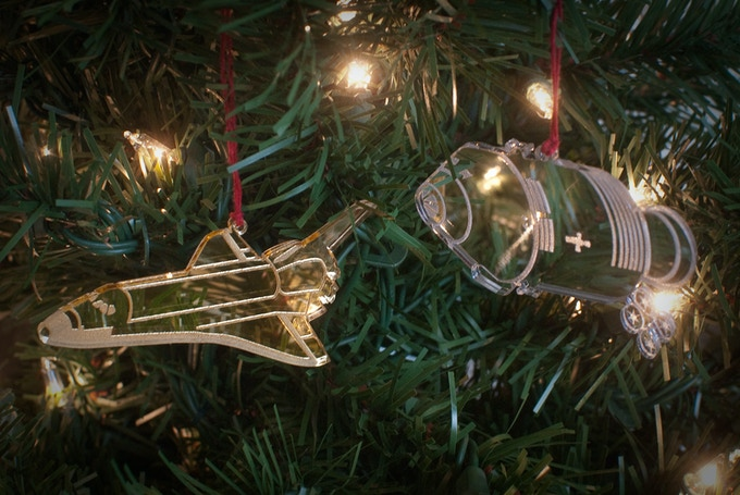 The Shuttle and Apollo, in mirrored gold and mirrored silver, respectively. They only look clear because they're reflecting the tree!