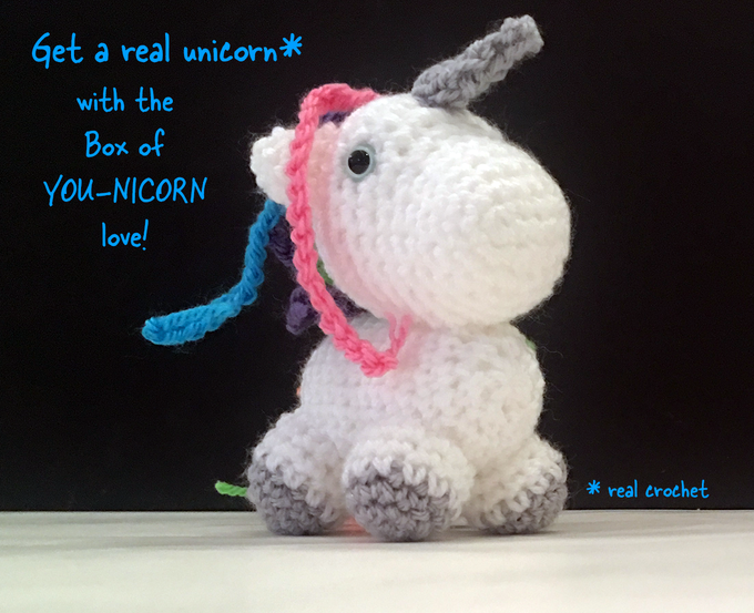 This crochet unicorn AND a bar of handmade unicorn poop soap comes in the Unicorn Gift Set