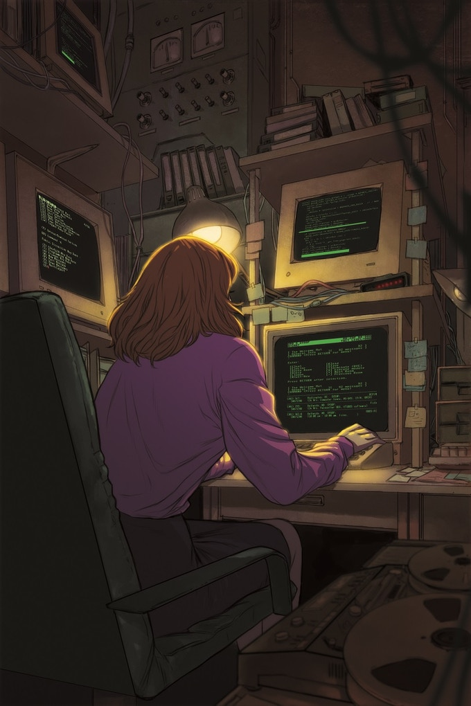 A Resistance SysOp performs reconnaissance on Regime BBS systems using her blazing fast 300-baud Haze modem.