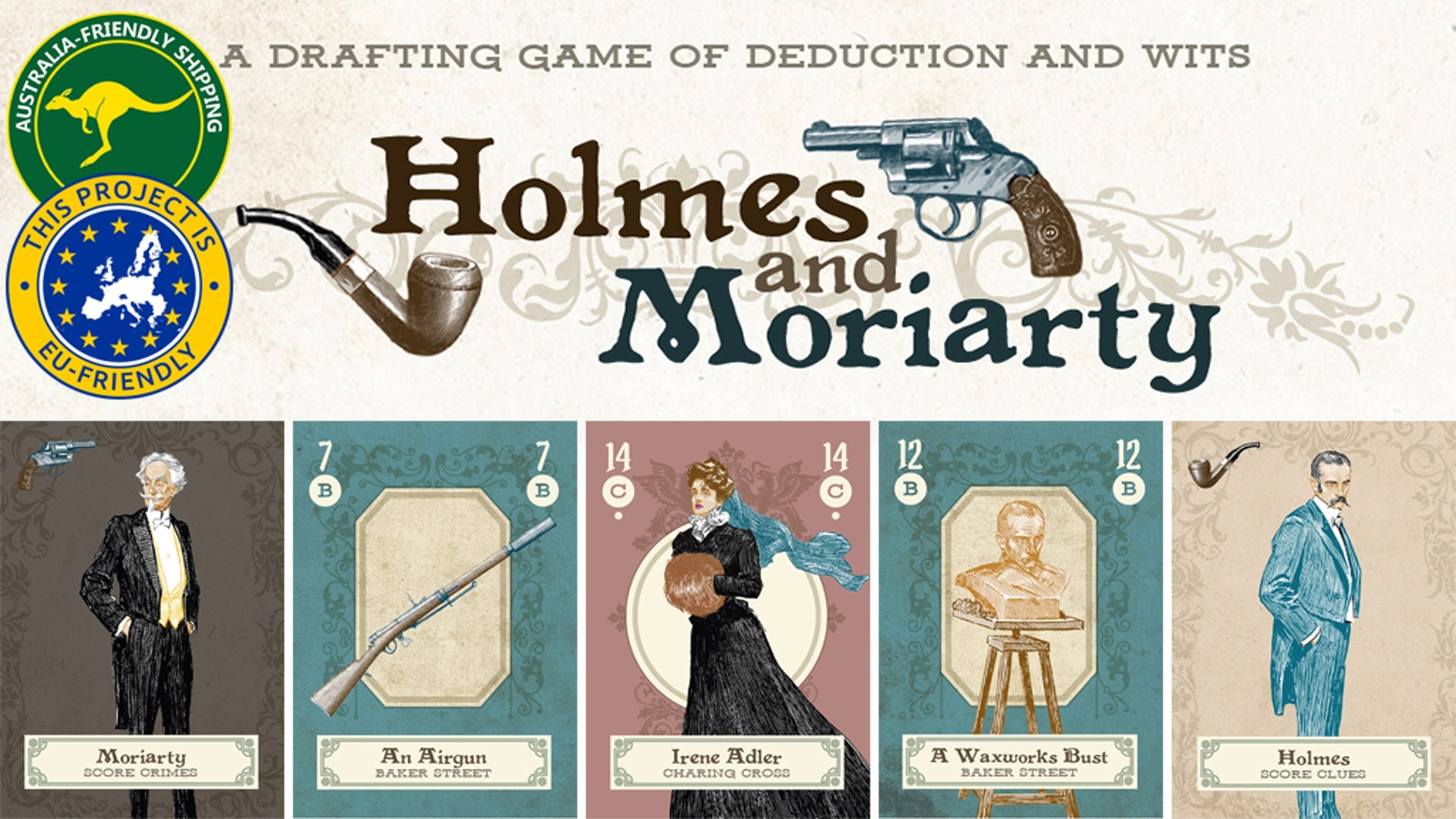 A card drafting game of deduction and wits for 2 players. It's Sherlock Holmes versus Professor Moriarty. Who will win?