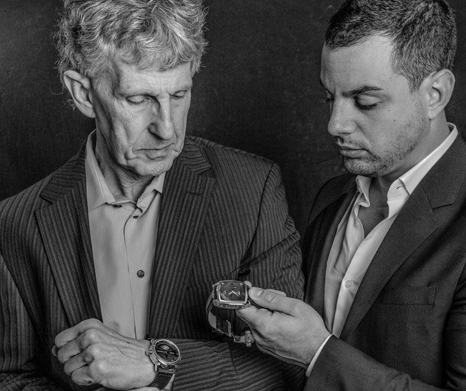 Ilan Srulovicz and his father, for whom the first watch was designed.