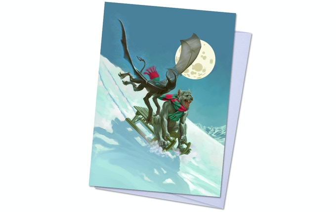 Dreamlands Pack 1, Card 3 - Moonlight Sledding