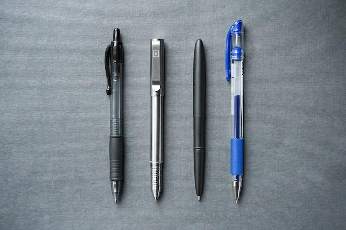 (Left to Right) Pilot G2 - Ti Arto EDC - Space Pen - Uniball Signo DX