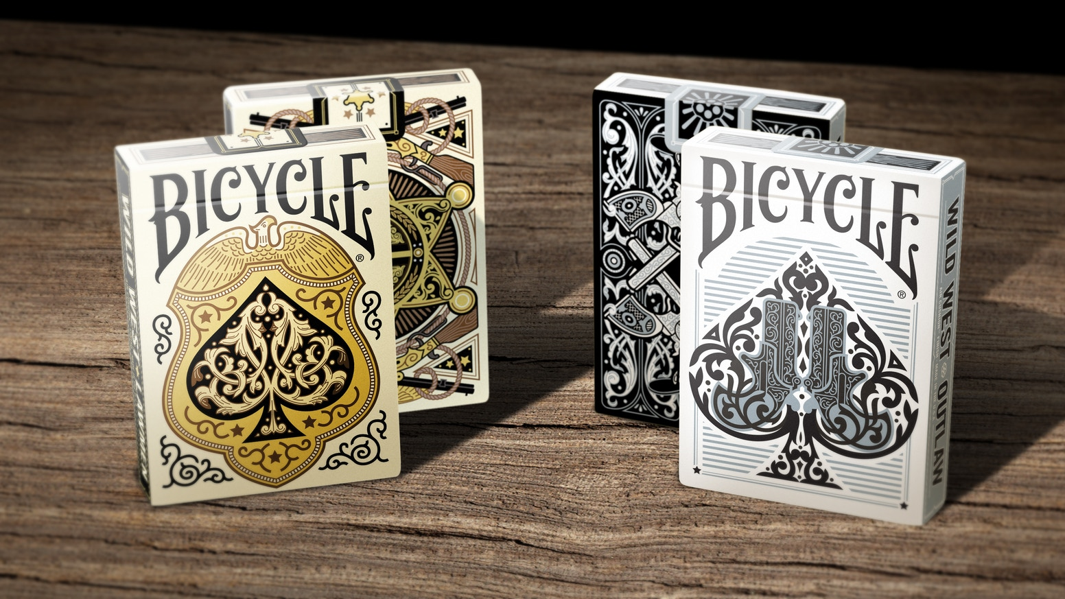 Bicycle Wild West Playing Cards. Each court card depicts a Wild West historic character such as Billy the Kid, Wyatt Earp and more.
