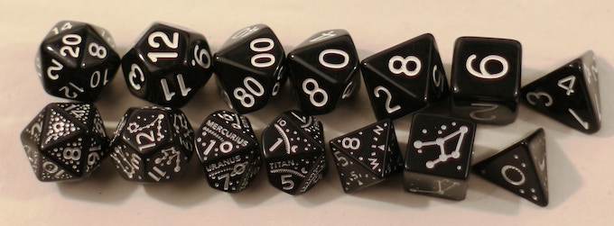 Same comparison but this time with a set of Q-Workshop dice. The differences become even more apparent.
