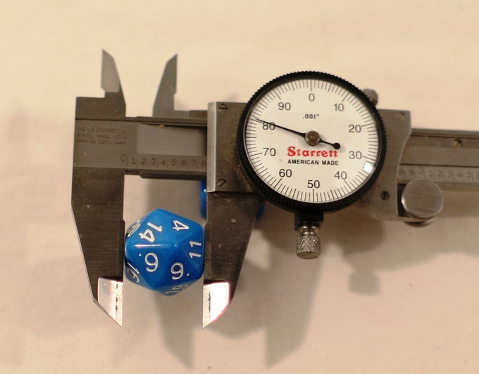 """Our polished D20 measures 0.780"""" flat to flat. That's 19.8mm to you and me."""
