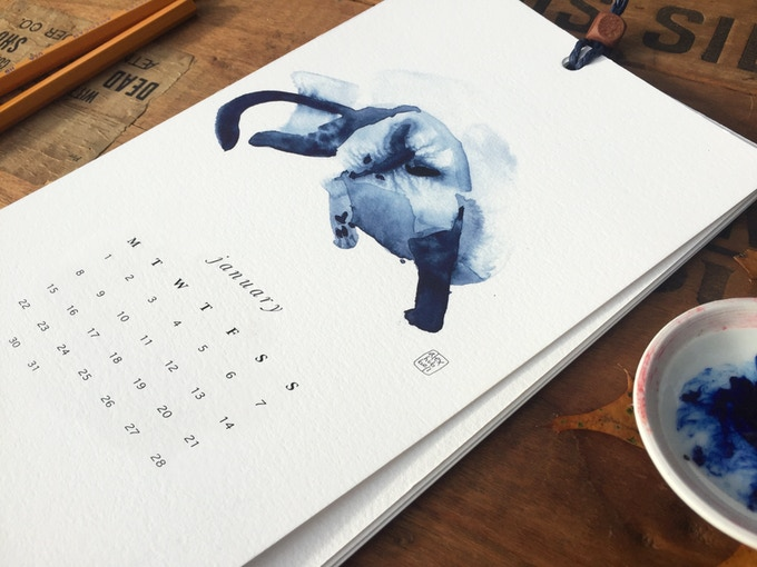 The 2018 Indigo Kitty Calendar features 12 original watercolors.