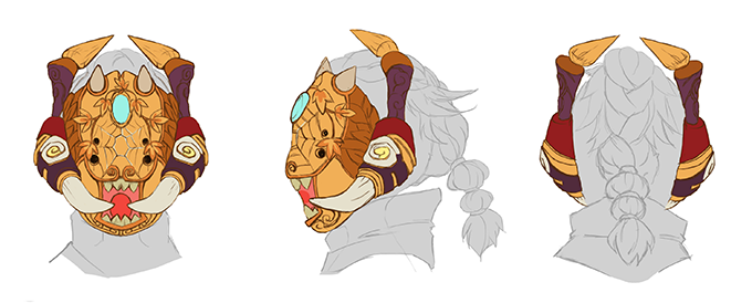 Demon's mask detail