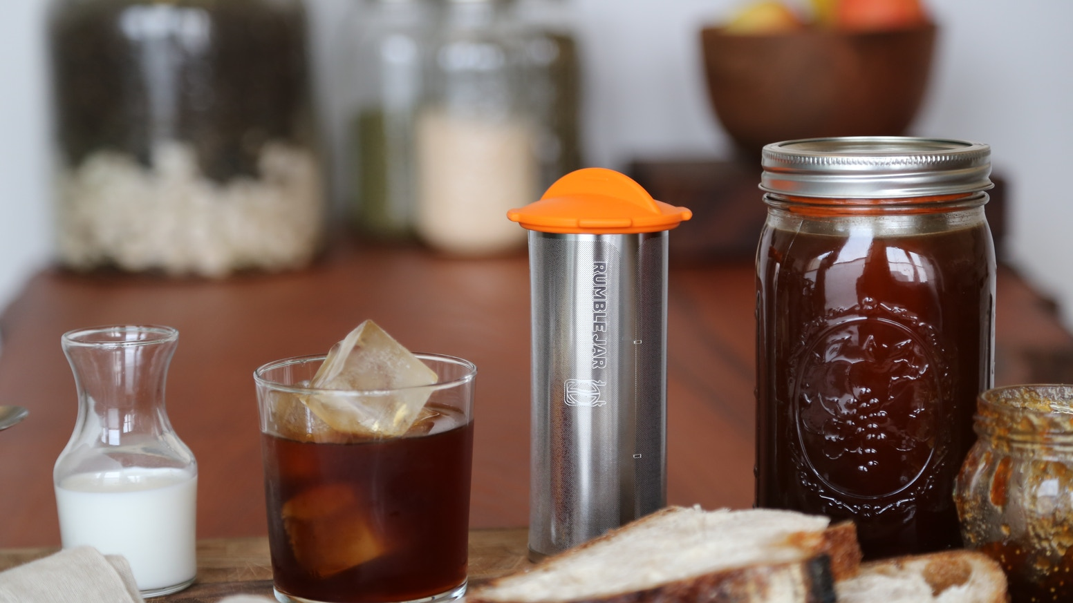 We built the perfect cold brew coffee maker and designed its filter to fit inside the time-tested Mason jar. It makes delicious cold brew coffee with just 1 minute of prep time. Available now in quart and half-gallon sizes at theRumbleJar.com.