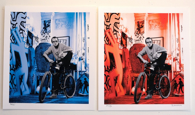 "Keith Haring (blue) 1985 and Keith Haring (red) 1985 Photo © Janette Beckman. Gift of Janette Beckman (Photographer). Each signed print is 15"" x 17""."