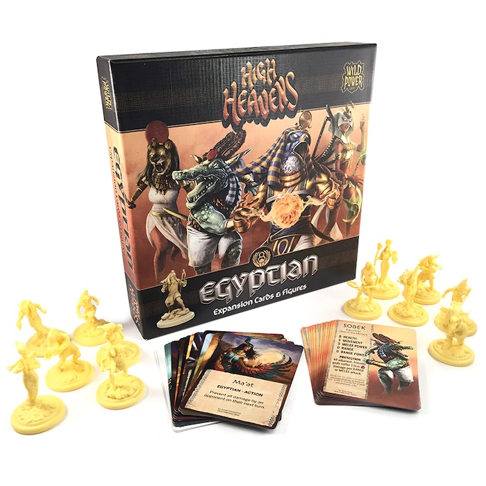 Expansion packs for the game HIGH HEAVENS. 12 Egyptian Minis, 1 Medusa mini (Greek), 1 Valkyrie mini (Norse), 2 Monster minis (Greek) and 2 Terrain minis (Norse). Available in plastic and resin!