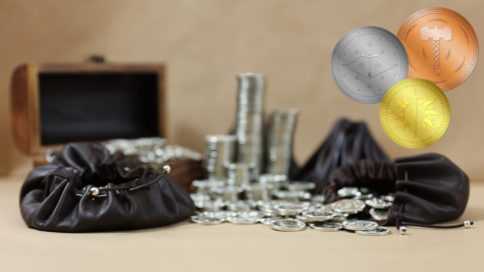 Fantasy themed coins for use in role-playing games, live action etc. Our aim: give you as many of our coins as possible for your coin!