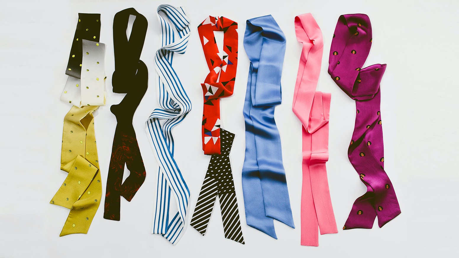 Neckties (aka pussybows) that are inspired by influential women from history and today.