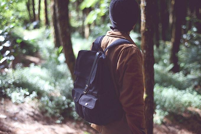 Astray Rolltop Backpack in Black / Black